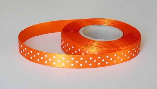 Stuha atlasová 15 mm s puntíkem oranžová 248 - 4,80 m