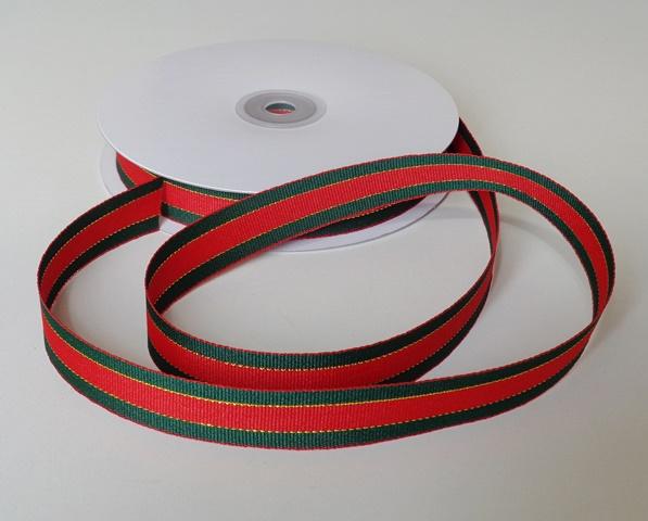 Stuha vánoční červenozelená s lurexem 20 mm - 5 m