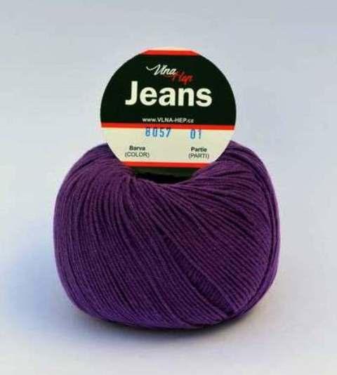 Pletací příze Jeans fialová 8057