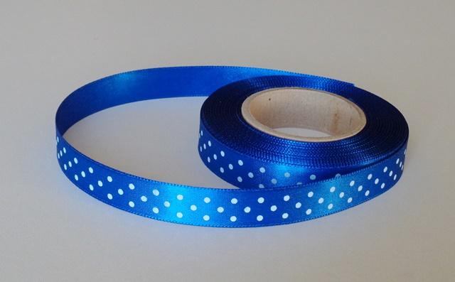 Stuha saténová 15 mm s puntíkem papouščí modrá 426 - 5 m
