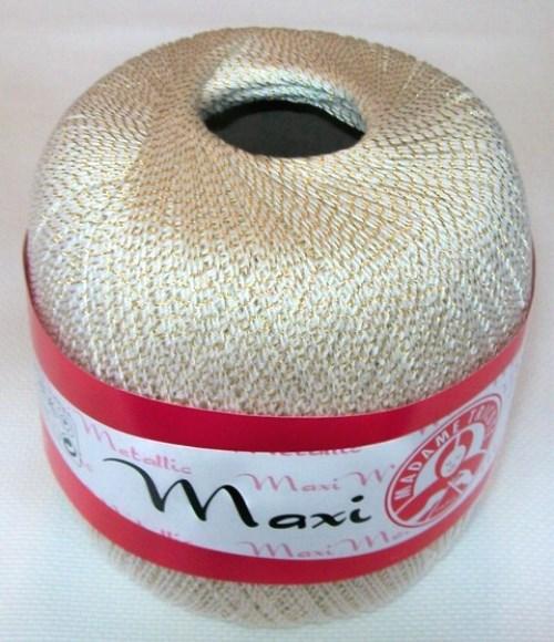 Háčkovací příze Maxi MT č.2003 bílá + zlato