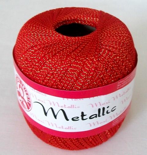 Háčkovací příze Maxi MT č.26328 červená + zlato