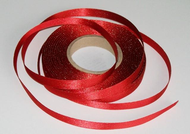 Atlasová stuha červená 10 mm - 5 m