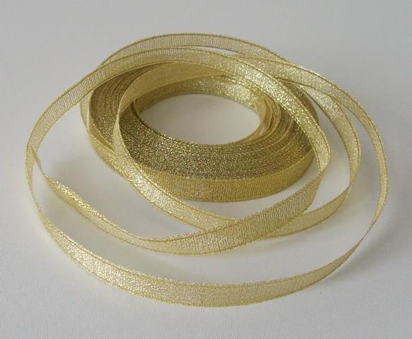 Stuha lurexová PAULA zlatá 10 mm - 5 m