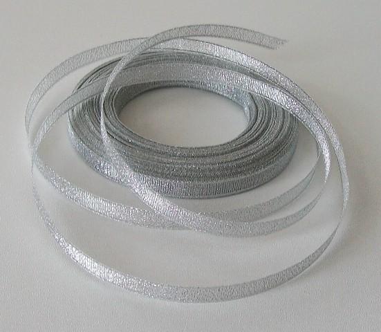 Stuha lurexová PAULA stříbrná 10 mm - 2,5 m