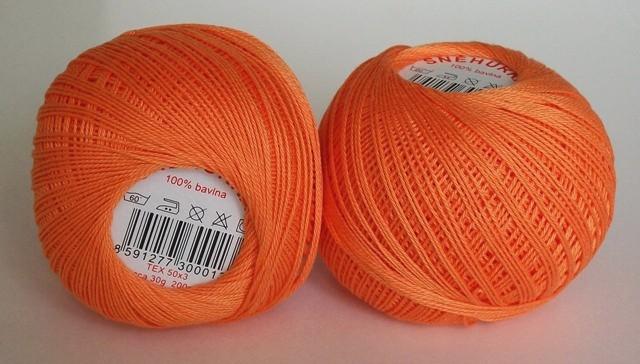 Háčkovací příze Sněhurka č. 2254 tmavě oranžová