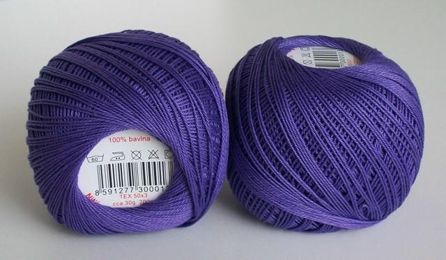 Háčkovací příze Sněhurka č. 4574 středně fialová