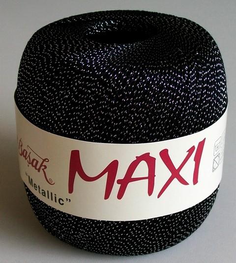 Háčkovací příze Maxi MT č.1999 černá + stříbro