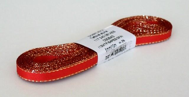Stuha taftová s lurexem 6 mm červená+zlato - 10 m