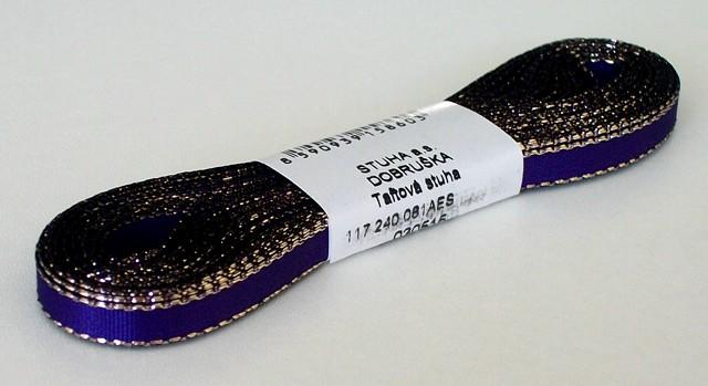 Stuha taftová s lurexem 6 mm fialová+zlato - 10 m